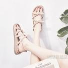 涼感涼鞋 夏季新款韓版百搭學生ins網紅鞋chic簡約平底仙女風涼鞋女潮-快速出貨