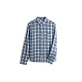 Gap男裝翻領格紋長袖襯衫528030-藍色格紋