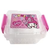 小禮堂 美樂蒂 迷你 收納盒 雙扣 方形塑膠 置物盒 飾品盒 文具盒 (粉 愛心) 4713791-84425
