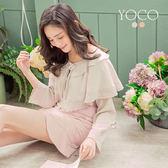 東京著衣【YOCO】柔美輕甜雙層領蝴蝶結綁帶上衣-S.M.L(180430)