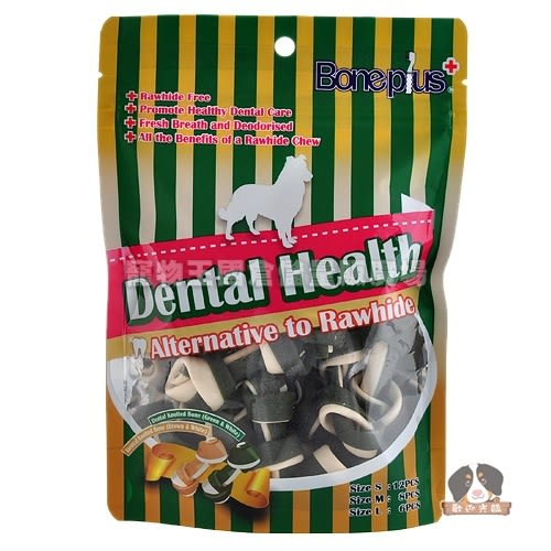 【寵物王國】 英國Bone Plus葉綠素高鈣雙色潔牙骨結(S)36入