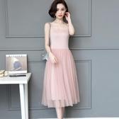 網紗吊帶裙女洋裝 寬鬆內搭長裙 夏季彈力大尺碼碼洋裝 連身裙 超值價