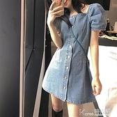 牛仔洋裝 法式桔梗初戀甜美牛仔裙子女2021年夏季新款時尚小個子顯瘦洋裝