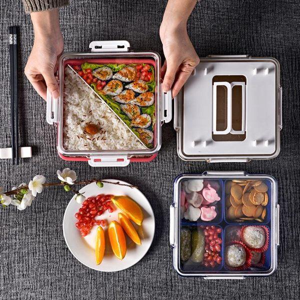 三層飯盒日式分隔便當盒保鮮可微波爐加熱塑料飯盒密封帶蓋「青木鋪子」
