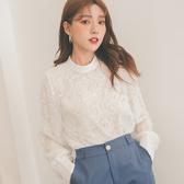 MUMU【T49726】韓。公主風蕾絲立領上衣。白/杏