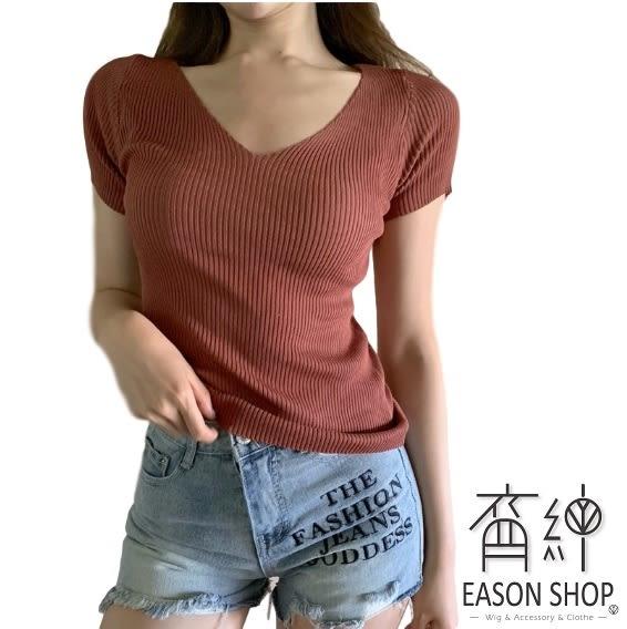 EASON SHOP(GW2086)韓版約復古純色坑條紋短版V領短袖羅紋針織衫女上衣服彈力貼身內搭衫修身顯瘦綠色