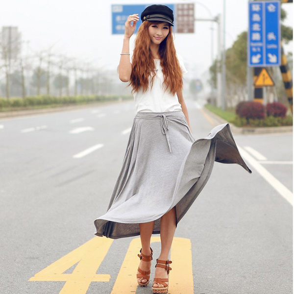 莫代爾系帶高腰半身裙女傘裙通勤A字長裙子 R系帶大擺裙  &小咪的店&