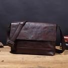 【Solomon 原創設計皮件】紐約客 復古水洗牛革 郵差包 側背包