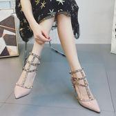 618好康鉅惠 鉚釘高跟鞋單鞋綁帶中跟包頭女鞋大碼涼鞋女