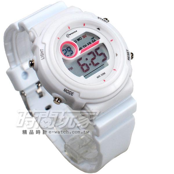 MINGRUI 雙色配多功能計時腕錶 學生電子錶 兒童手錶 女錶 鬧鈴 日期 防水手錶 冷光照明 MR8567白