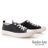 Keeley Ann我的日常生活 牛皮面小雛菊餅乾休閒鞋(黑色) -Ann系列