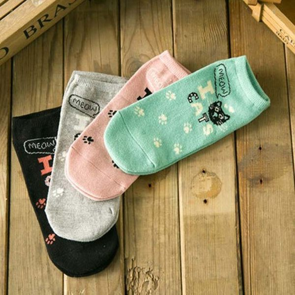 襪子【FSW065】小貓腳印女短襪 隱形襪 短襪 螢光色 純棉 毛巾襪 船型襪 學生襪-123ok