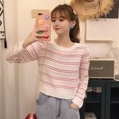 2019秋季新款韓版chic百搭時尚針織衫長袖T恤女洋氣條紋上衣女潮 滿天星