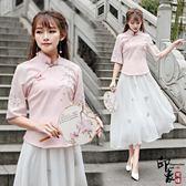 刺繡上衣漢服文藝復古修身立領盤扣繡花立體飾百搭襯衫上衣