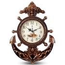 限定款掛鐘 歐式客廳掛鐘創意靜音大號船舵...