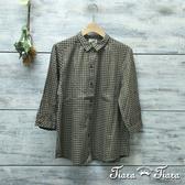 【Tiara Tiara】網路獨家 細格紋排釦半袖純棉長短版襯衫(藍/咖啡)