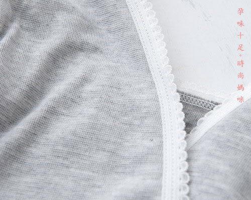 *孕味十足。孕婦裝*【F26603】‧台灣製無鋼圈前交叉式車縫花邊孕婦哺乳胸罩內衣‧灰