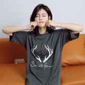 【預購】韓版可愛麋鹿印花寬鬆舒適睡裙 居家服 睡衣S95415
