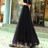 春夏新款黑色 網紗半身裙 中長款女甜美 高腰a字裙 紗裙裙 蓬蓬裙 中長裙【超低價狂促】