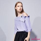 【SHOWCASE】俐落斜肩翻領條紋七分袖造型襯衫上衣(藍)