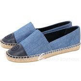 TORY BURCH Color-block 單寧布面拼接設計麻編平底鞋 1820530-34