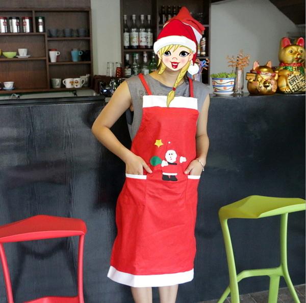 聖誕節裝飾品聖誕無紡布老人貼花圍裙聖誕節日家庭party家居用品─預購CH2956