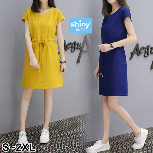【V2439】shiny藍格子-盛夏絮語.純色V領抽繩雙口袋短袖連身裙