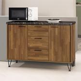 【森可家居】洛爾納4 尺石面收納櫃8CM922 2 餐櫃廚房櫃中島碗盤碟櫃木紋 工業風