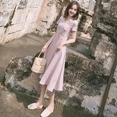休閒洋裝連身裙女夏法式很仙法國小眾長裙復古森繫桔梗裙子超仙女學生過膝 快速出貨