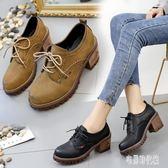 2019秋季新款鞋子小皮鞋粗跟高跟鞋系帶英倫風馬丁靴單鞋復古女鞋YJ600【宅男時代城】