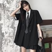 西裝外套 上衣女年新款夏季韓版ins寬鬆黑色半袖小西裝短袖薄款外套潮 瑪麗蘇