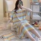 睡衣 布袋條紋菠蘿睡裙女夏季短袖寬鬆薄款韓版學生家居服中長款睡衣女