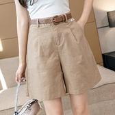 短褲休閒褲闊腿褲S-2XL彈力高腰休閒短褲寬鬆闊腿熱褲顯瘦減齡氣質彩色短褲G562-1062.皇潮天下