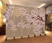 屏風 日式和風櫻花仿木紋格子時尚客廳餐烤料理店折疊美容隔斷布藝