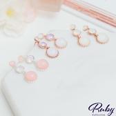 耳環 韓國直送‧撞色蛋白石水鑽耳環-Ruby s 露比午茶