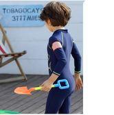 兒童泳衣男童中大童女長袖連體速乾防曬鯊魚男孩水母游泳褲 全館免運