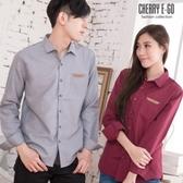 Cherry e購【KS3412】情侶/型男款,‧素面皮飾棉質長袖襯衫_7色