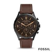 FOSSIL FORRESTER CHRONO 知識探索石英計時男錶-黑X咖色皮革錶帶 46MM FS5608
