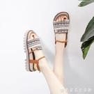 網紅涼鞋女2020新款仙女風夏平底鞋厚底中跟一字式扣帶百搭ins潮