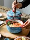陶瓷泡面碗個性帶蓋家用湯碗宿舍面碗可愛創意大碗學生碗 布衣潮人