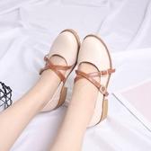 女鞋春夏季韓版百搭交叉帶淺口單鞋子女粗跟中跟小皮鞋 交換禮物