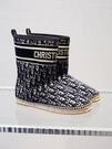 ■專櫃88折■全新真品■Dior 藍色 Dior 繡花絲絨女款Granville 短靴 IT 40.5