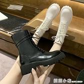 機車靴女秋季透氣薄款厚底單靴短靴增高帥氣英倫馬丁靴潮ins白色 蘇菲小店