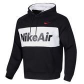 Nike Air Hoodie 男裝 長袖 連帽 帽T 休閒 刷毛 拼接 黑 白【運動世界】CJ4825-010