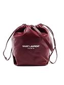 ■專櫃77折■ 全新真品■Saint Laurent 聖羅蘭 YSL Teddy 軟羊皮抽繩兩用水桶包 酒紅色