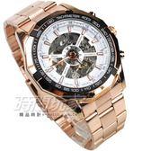 FORSINING 視距儀造型 鏤空時尚機械男錶 陀飛輪造型機械錶 防水手錶 玫瑰金電鍍 F3400白玫