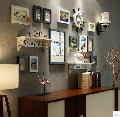高端实木照片墙现代简约相片墙家居背景墙装饰组合相框2144
