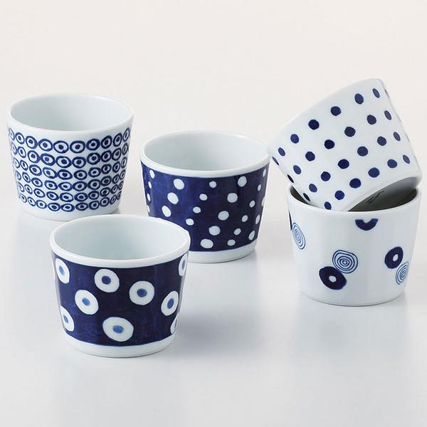 日本 西海陶器 藍丸紋湯吞杯-5入組