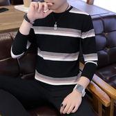 圓領毛衣男年輕韓版修身上衣秋冬條紋套頭針織衫 生活故事
