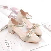 涼鞋女年新款粗跟配裙子夏季高跟溫柔甜美單鞋中跟包頭仙女風 格蘭小鋪